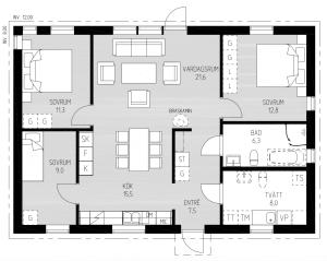 Planlösning faluhus Nyckeln 96